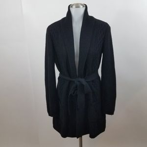 Calvin Klein sweater coat jacket S black tie long